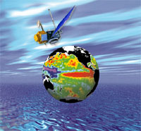 This artists concept shows a globe with sea surface height data and the TOPEX/Poseidon spacecraft above. The background is a blue rippled ocean with a blue, gray, and white sunset.