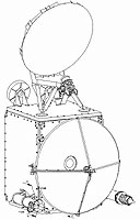 Line drawing of Jason-2 instrument package showing advanced microwave radiometer on top.