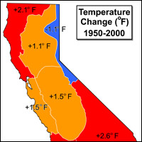map of California showing changes in temperature, 1950-2000