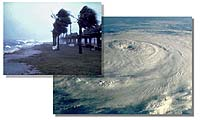 Hurricane from space and from  the ground
