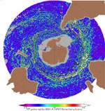 Image to support 'Altimeter Data And ECCO2 Ocean State Estimates Used To Study The Variability Of Antarctic Circumpolar Current Fronts And The Formation Of Antarctic Intermediate Water'