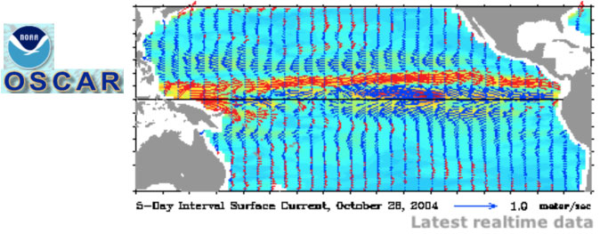 Ocean Surface Current Analysis - Real time (OSCAR) Image